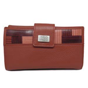 CARTERA MUJER - 18 cm roja cuero natural